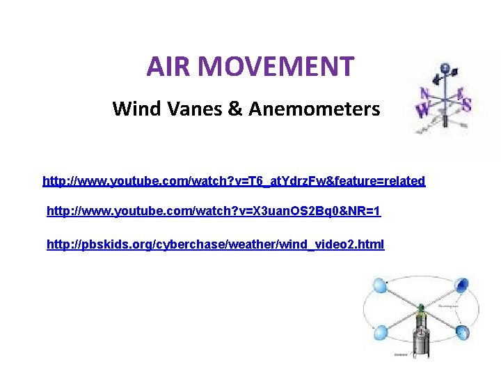 AIR MOVEMENT Wind Vanes & Anemometers http: //www. youtube. com/watch? v=T 6_at. Ydrz. Fw&feature=related