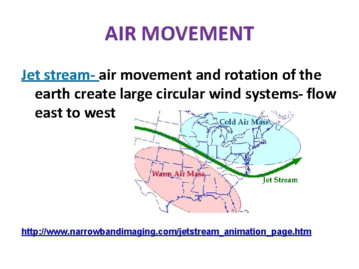 AIR MOVEMENT Jet stream- air movement and rotation of the earth create large circular