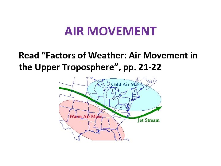"""AIR MOVEMENT Read """"Factors of Weather: Air Movement in the Upper Troposphere"""", pp. 21"""