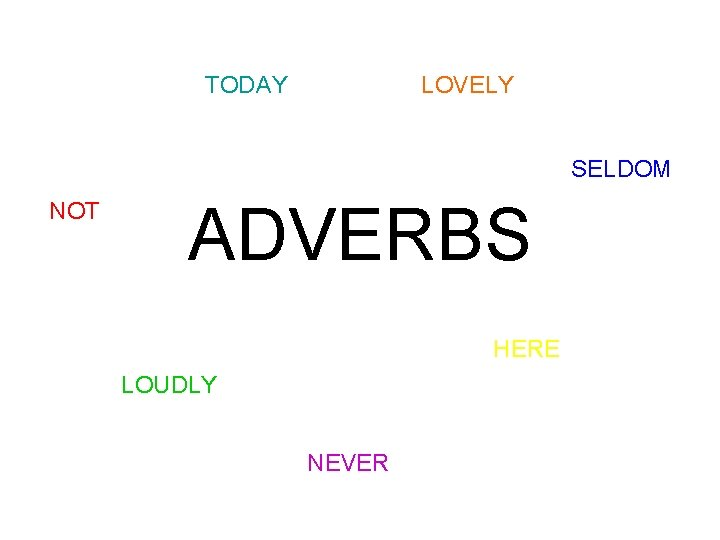 TODAY LOVELY SELDOM NOT ADVERBS HERE LOUDLY NEVER