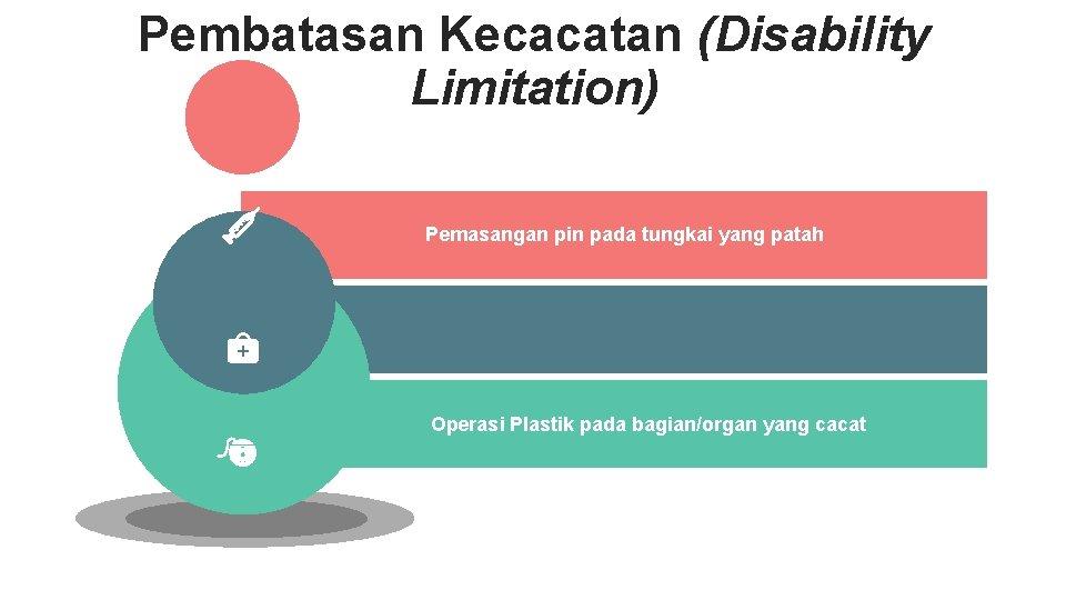 Pembatasan Kecacatan (Disability Limitation) Pemasangan pin pada tungkai yang patah Operasi Plastik pada bagian/organ