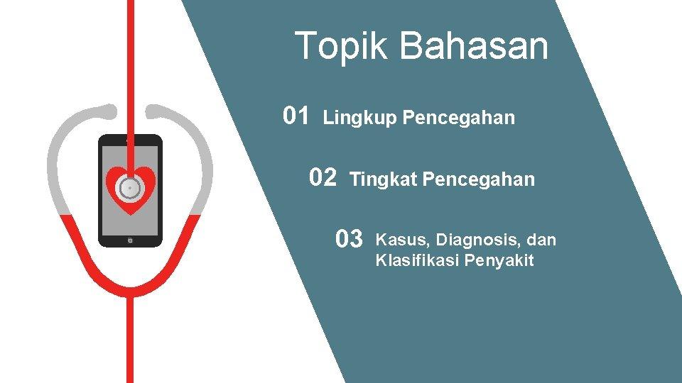 Topik Bahasan 01 Lingkup Pencegahan 02 Tingkat Pencegahan 03 Kasus, Diagnosis, dan Klasifikasi Penyakit