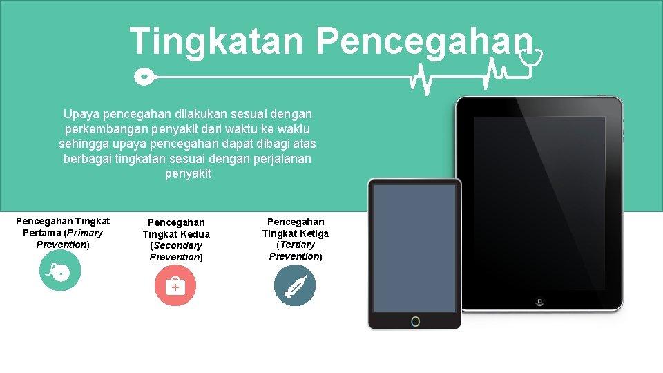 Tingkatan Pencegahan Upaya pencegahan dilakukan sesuai dengan perkembangan penyakit dari waktu ke waktu sehingga