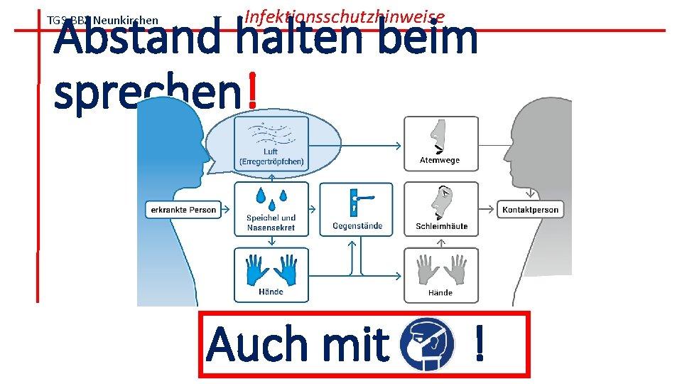 Abstand halten beim sprechen! TGS BBZ Neunkirchen Infektionsschutzhinweise Auch mit !