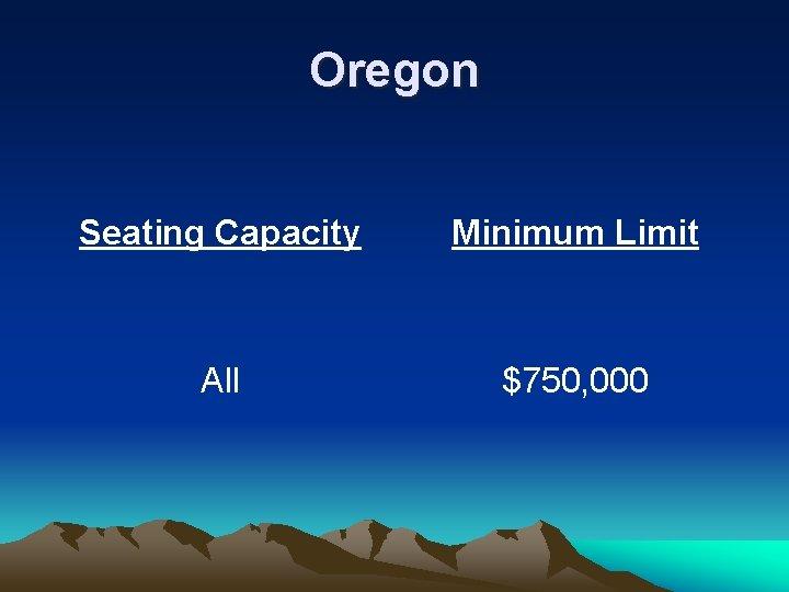 Oregon Seating Capacity Minimum Limit All $750, 000
