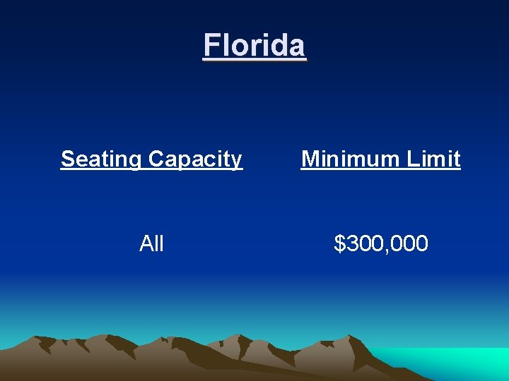 Florida Seating Capacity Minimum Limit All $300, 000