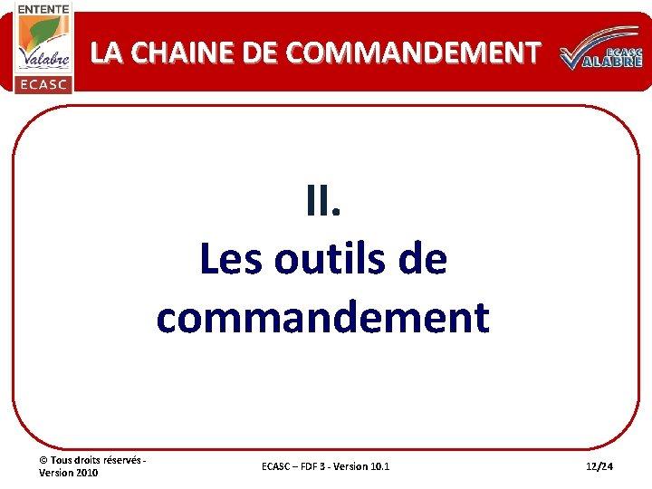 LA CHAINE DE COMMANDEMENT II. Les outils de commandement © Tous droits réservés -