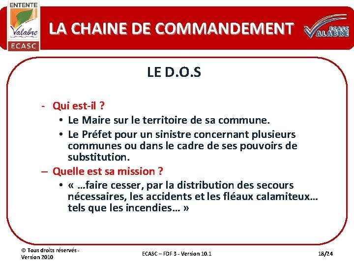 LA CHAINE DE COMMANDEMENT LE D. O. S - Qui est-il ? • Le