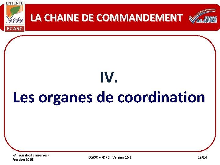 LA CHAINE DE COMMANDEMENT IV. Les organes de coordination © Tous droits réservés -