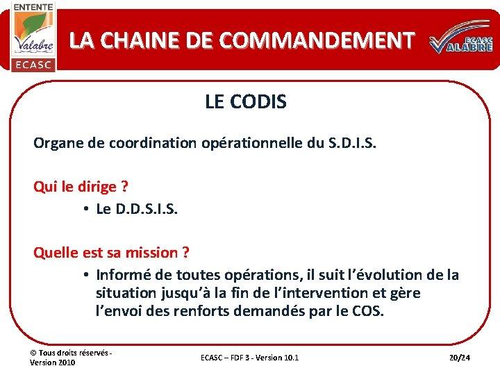 LA CHAINE DE COMMANDEMENT LE CODIS Organe de coordination opérationnelle du S. D. I.