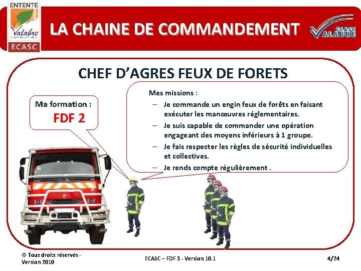 LA CHAINE DE COMMANDEMENT CHEF D'AGRES FEUX DE FORETS Ma formation : FDF 2