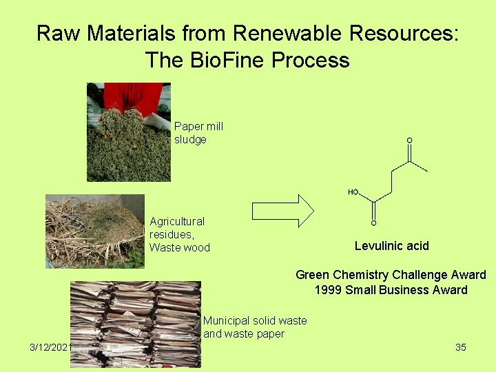 Raw Materials from Renewable Resources: The Bio. Fine Process Paper mill sludge Agricultural residues,