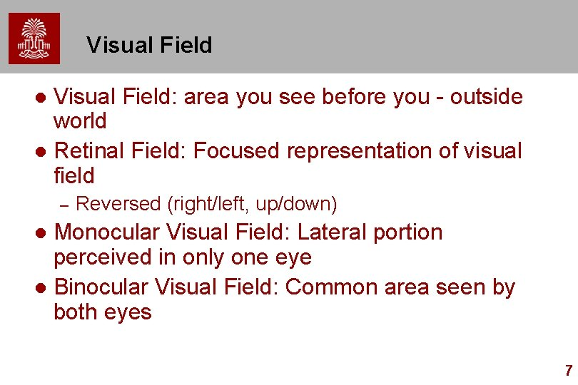 Visual Field: area you see before you - outside world l Retinal Field: Focused