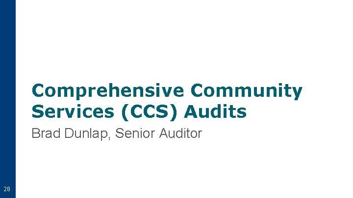 Comprehensive Community Services (CCS) Audits Brad Dunlap, Senior Auditor 28
