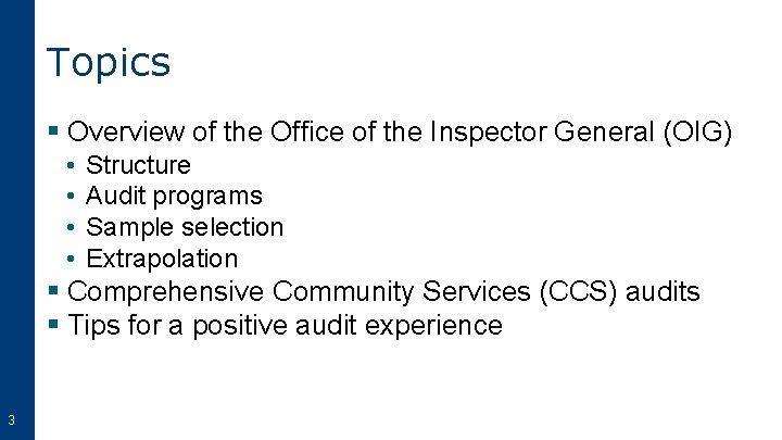 Topics § Overview of the Office of the Inspector General (OIG) • • Structure