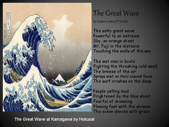 The Great Wave By Gustavo Lemos (6 th Grade) The salty great wave Powerful
