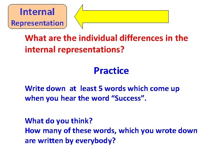 Internal Representation What are the individual differences in the internal representations? Practice Write down