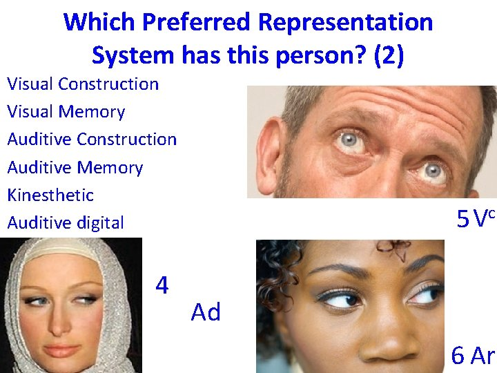 Which Preferred Representation System has this person? (2) Visual Construction Visual Memory Auditive Construction