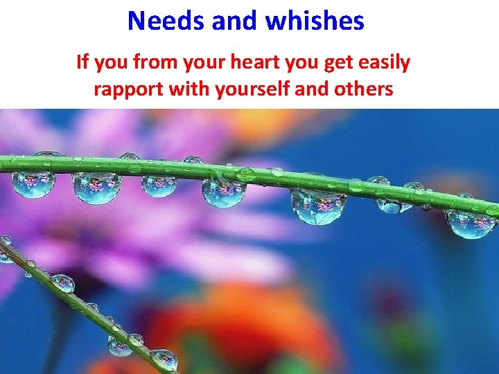 Needs and whishes If you from your heart you get easily rapport with yourself