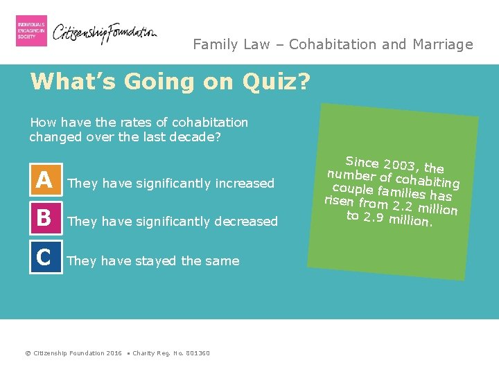 Family Law – Cohabitation and Marriage What's Going on Quiz? How have the rates