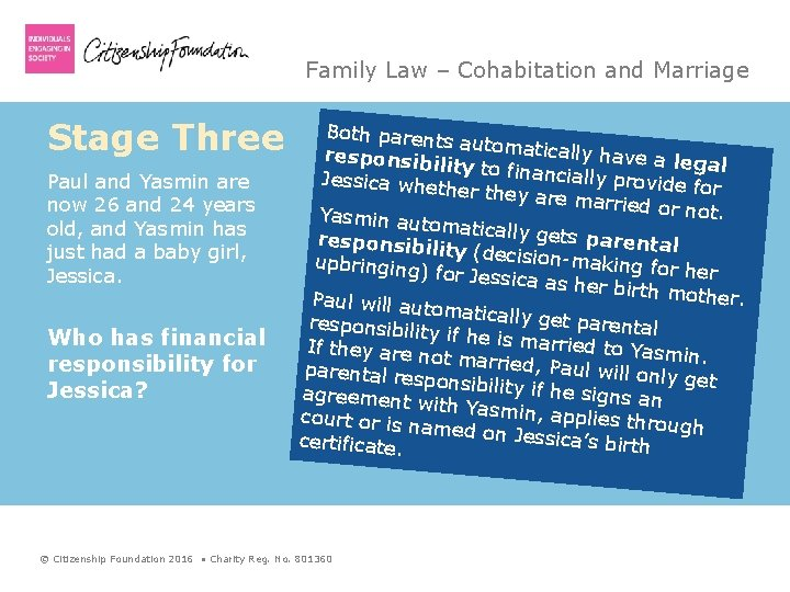 Family Law – Cohabitation and Marriage Stage Three Paul and Yasmin are now 26