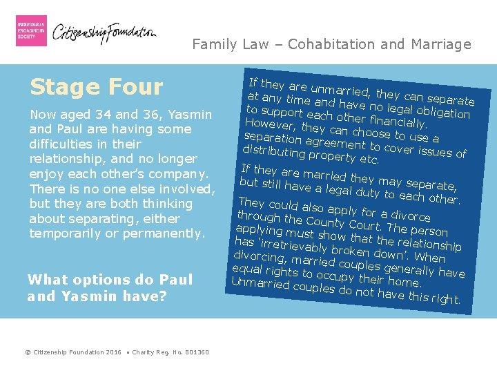 Family Law – Cohabitation and Marriage Stage Four Now aged 34 and 36, Yasmin