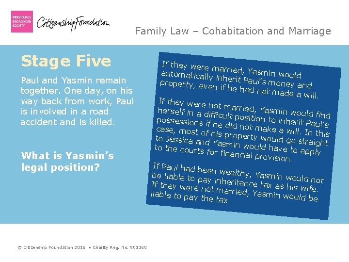 Family Law – Cohabitation and Marriage Stage Five Paul and Yasmin remain together. One