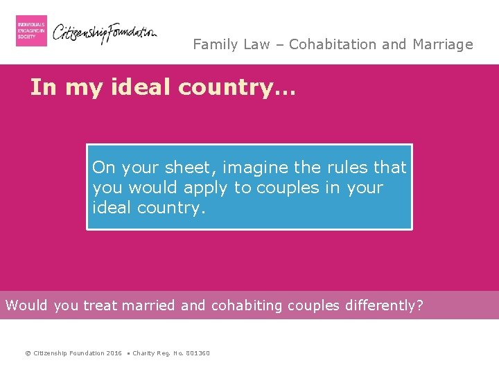 Family Law – Cohabitation and Marriage In my ideal country… On your sheet, imagine