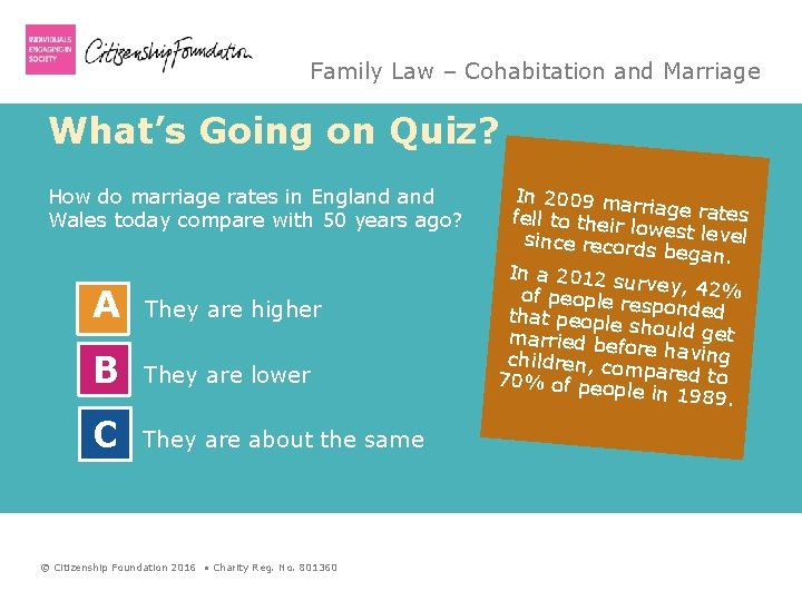 Family Law – Cohabitation and Marriage What's Going on Quiz? How do marriage rates