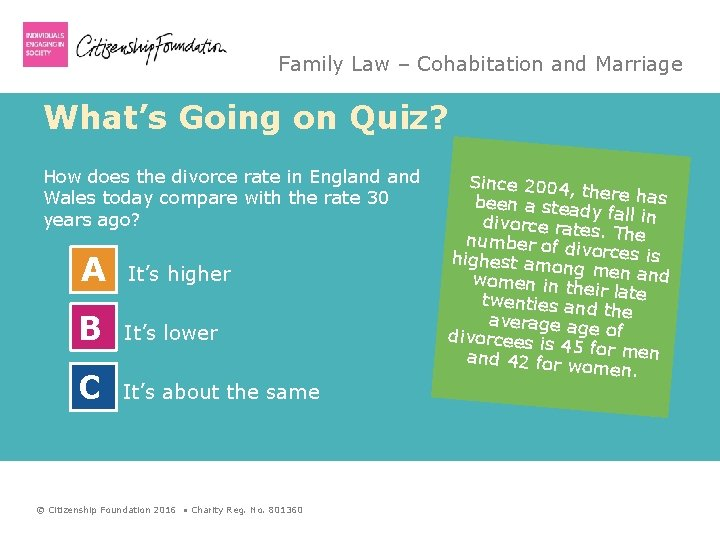 Family Law – Cohabitation and Marriage What's Going on Quiz? How does the divorce