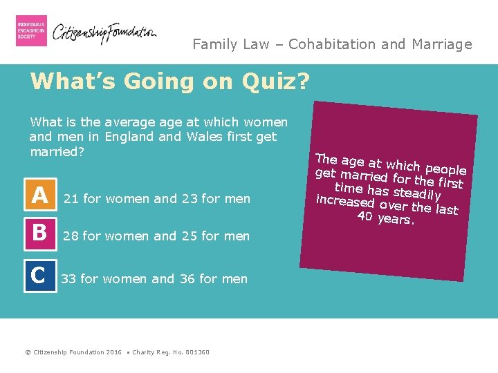 Family Law – Cohabitation and Marriage What's Going on Quiz? What is the average