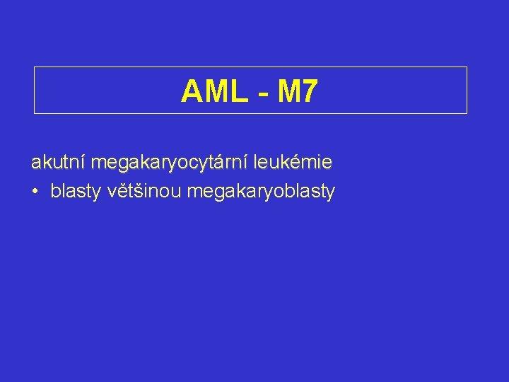 AML - M 7 akutní megakaryocytární leukémie • blasty většinou megakaryoblasty