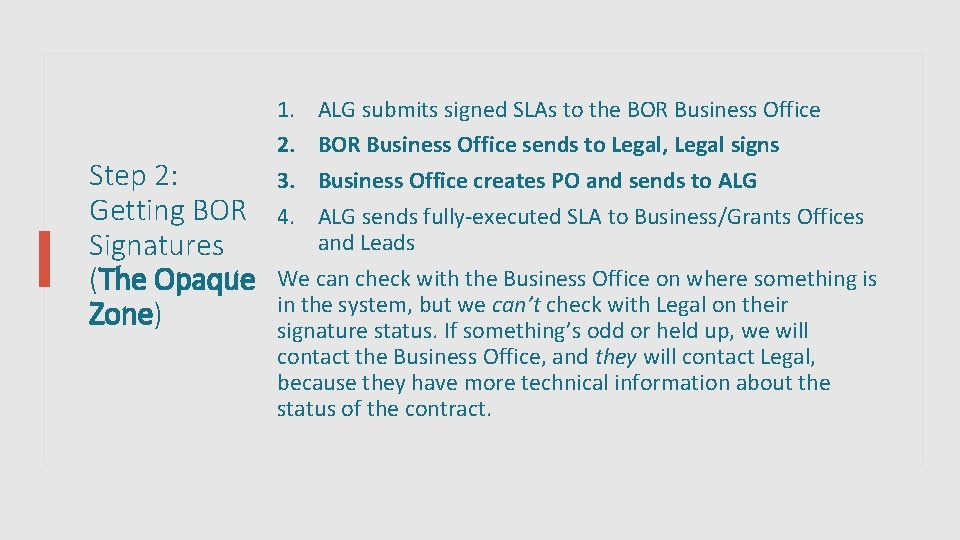 Step 2: Getting BOR Signatures (The Opaque Zone) 1. 2. 3. 4. ALG submits