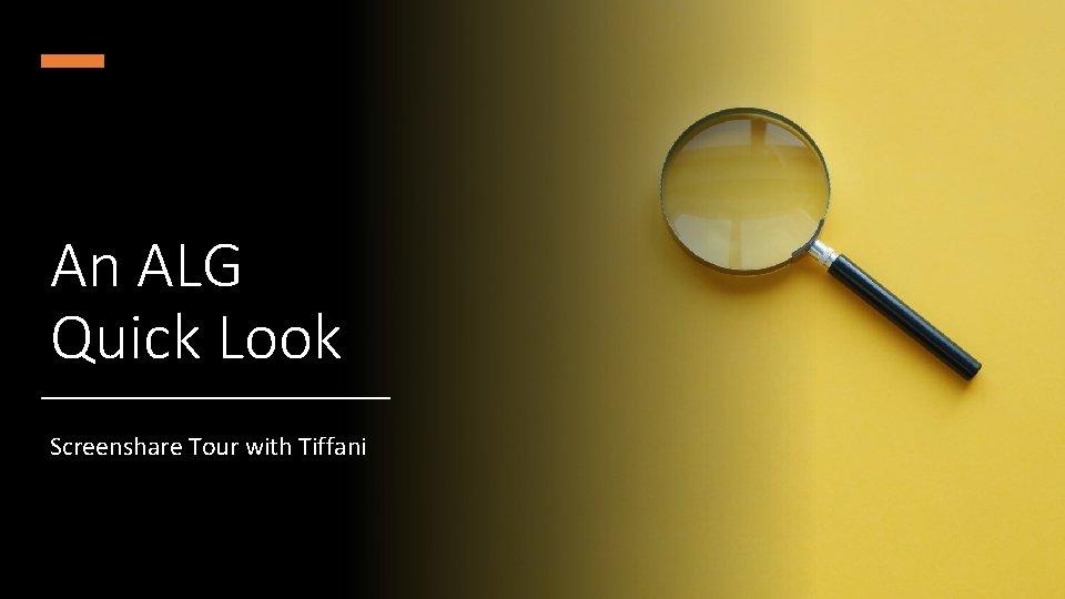 An ALG Quick Look Screenshare Tour with Tiffani