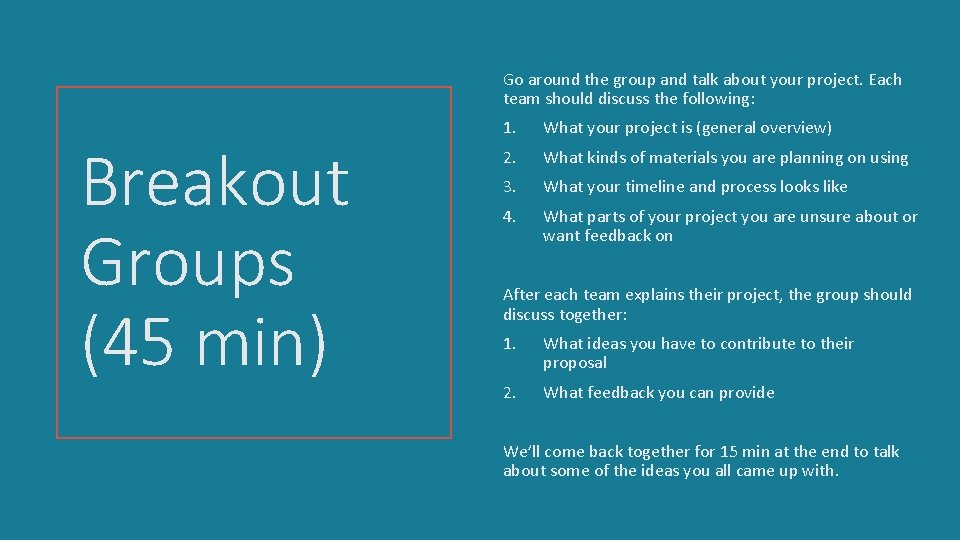 Go around the group and talk about your project. Each team should discuss the