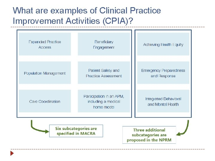 What are examples of Clinical Practice Improvement Activities (CPIA)?