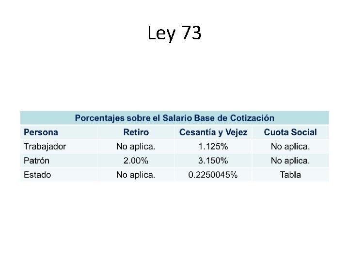 Ley 73