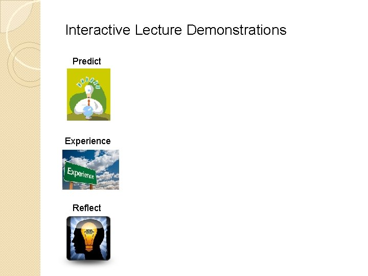 Interactive Lecture Demonstrations Predict Experience Reflect