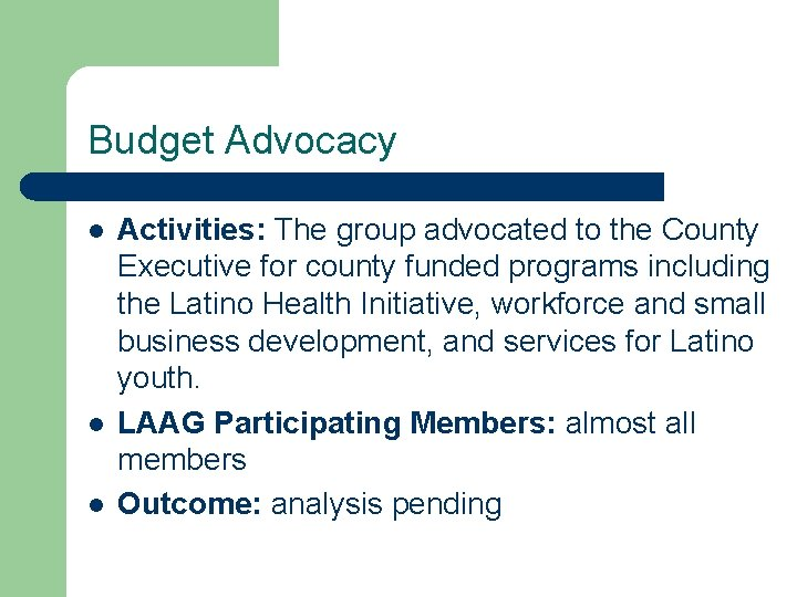 Budget Advocacy l l l Activities: The group advocated to the County Executive for