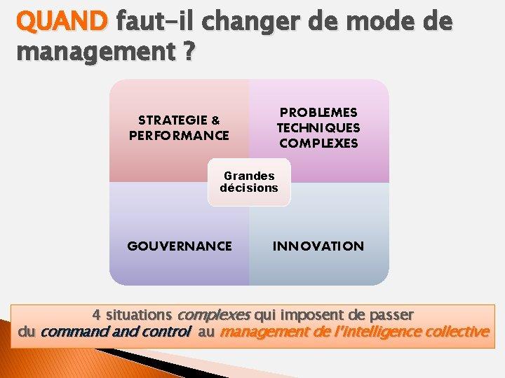 QUAND faut-il changer de mode de management ? STRATEGIE & PERFORMANCE PROBLEMES TECHNIQUES COMPLEXES