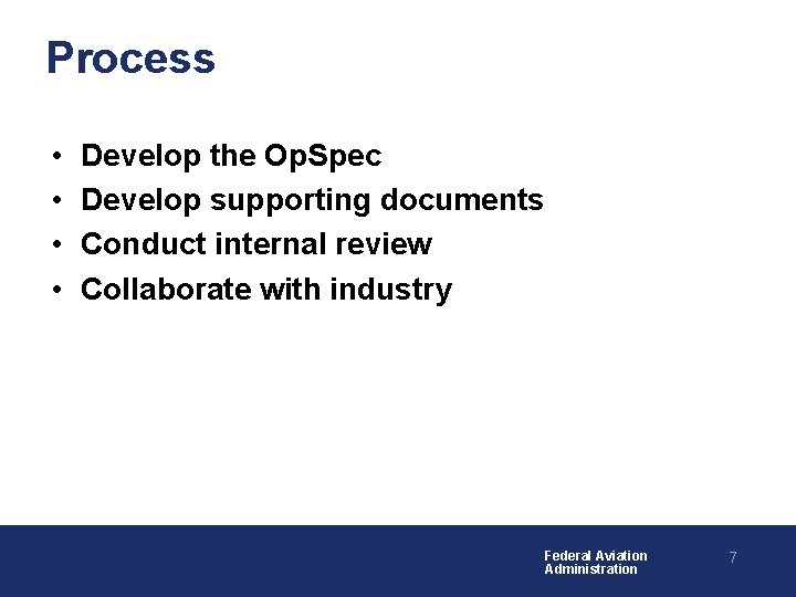 Process • • Develop the Op. Spec Develop supporting documents Conduct internal review Collaborate