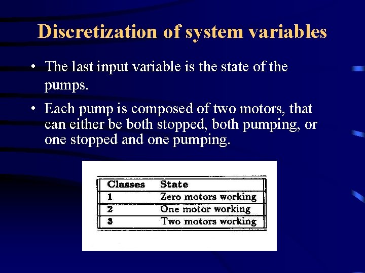 Discretization of system variables • The last input variable is the state of the