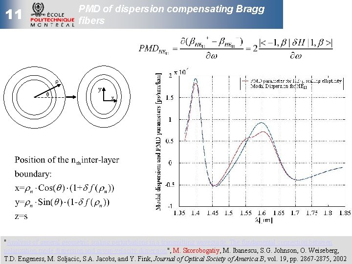 """PMD of dispersion compensating Bragg fibers 11 r q y x """"Analysis of general"""