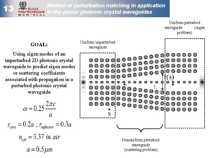 13 Method of perturbation matching in application to the planar photonic crystal waveguides Uniform