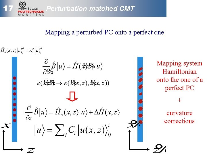 17 Perturbation matched CMT Mapping a perturbed PC onto a perfect one Mapping system