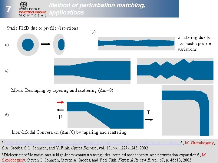 7 Method of perturbation matching, applications Static PMD due to profile distortions b) Scattering