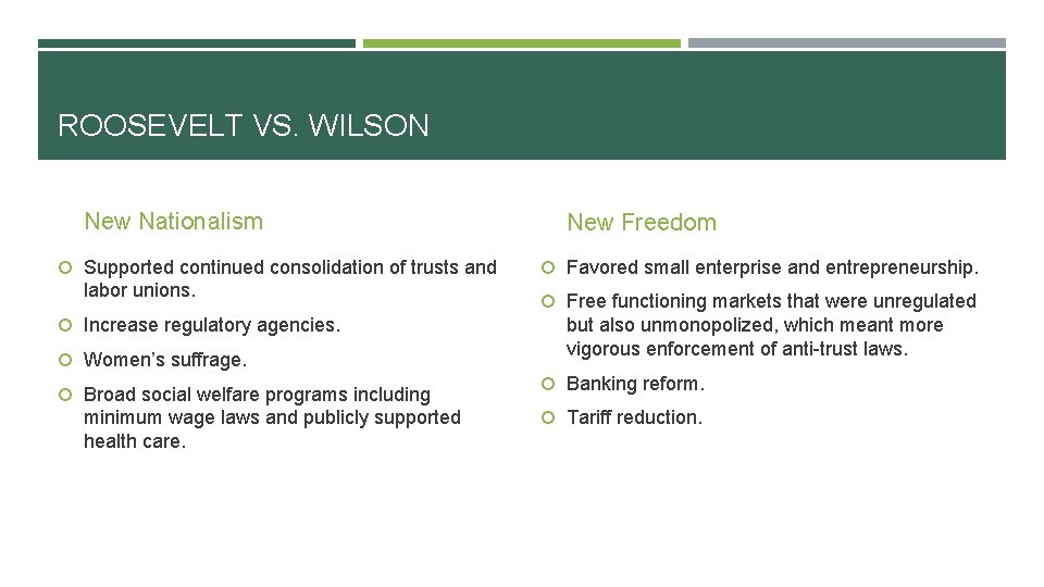 ROOSEVELT VS. WILSON New Nationalism Supported continued consolidation of trusts and labor unions. Increase