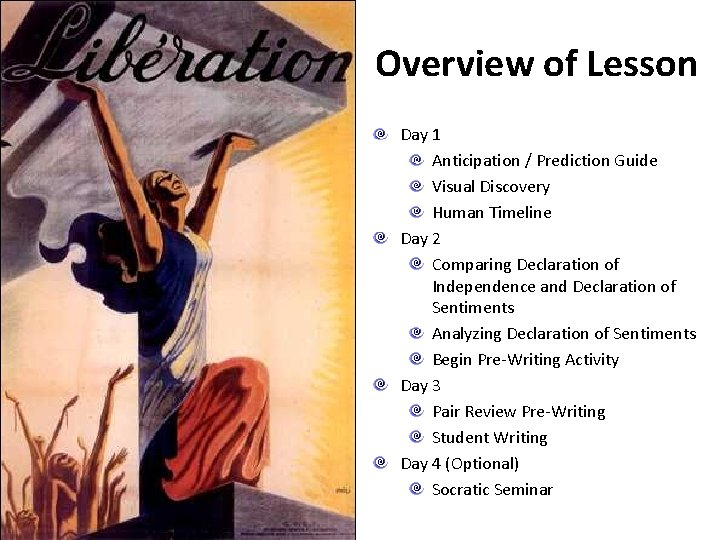 Overview of Lesson Day 1 Anticipation / Prediction Guide Visual Discovery Human Timeline Day