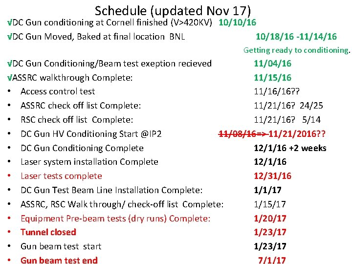 Schedule (updated Nov 17) √DC Gun conditioning at Cornell finished (V>420 KV) 10/10/16 √DC