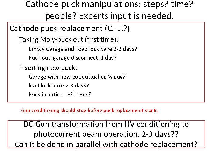 Cathode puck manipulations: steps? time? people? Experts input is needed. Cathode puck replacement (C.